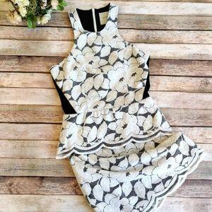 Mason by Michelle Mason Peplum White Lace Dress